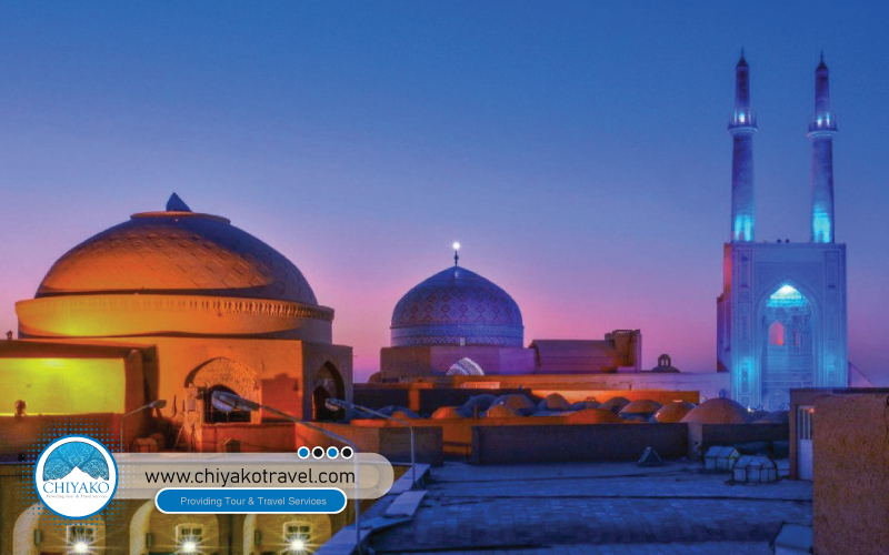 Jame mosque of Yazd at night